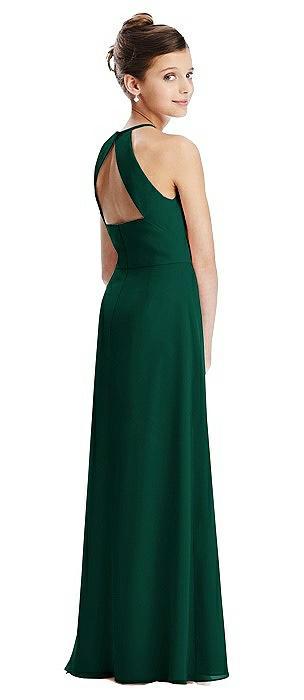 Shirred Jewel Neck Chiffon Juniors Dress