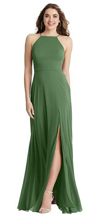 High Neck Chiffon Maxi Dress with Front Slit - Lela