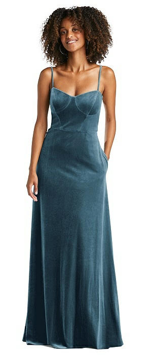 Bustier Velvet Maxi Dress with Adjustable Straps