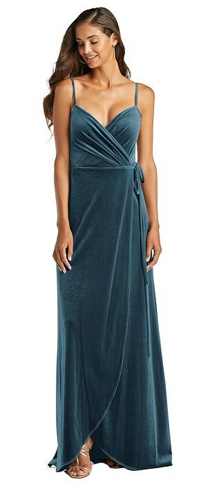 Velvet Wrap Maxi Dress with Pockets
