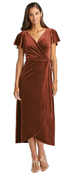 Flutter Sleeve Velvet Midi Wrap Dress with Pockets
