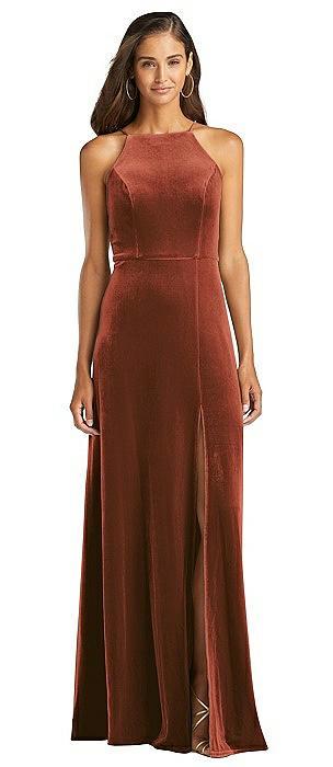 Velvet Halter Maxi Dress with Front Slit