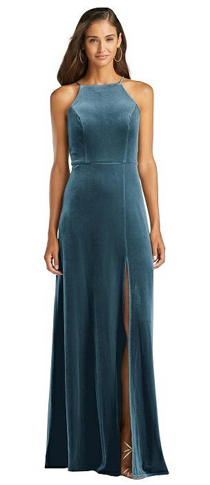 Velvet Halter Maxi Dress with Front Slit