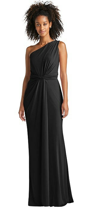 One-Shoulder Draped Trumpet Maxi Dress