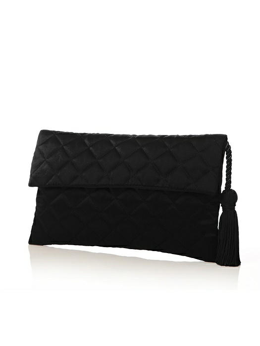 Quilted Envelope Clutch with Tassel Detail