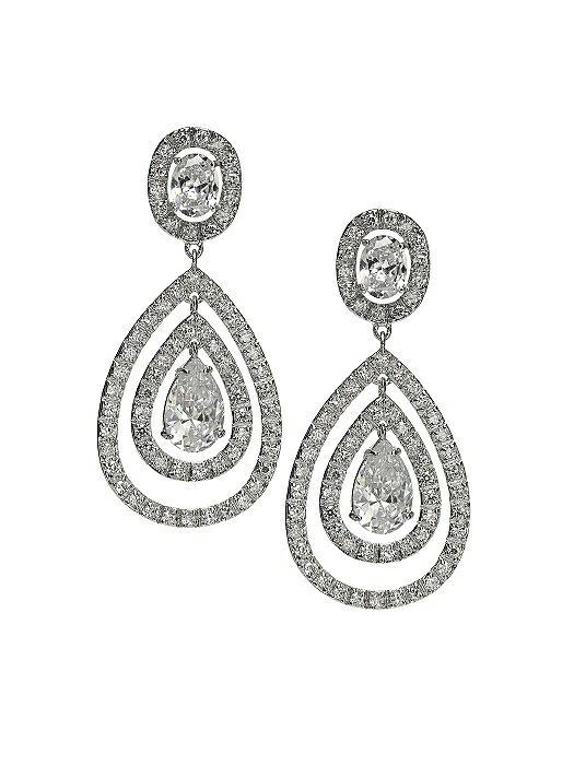 CZ Nested Drop Earrings