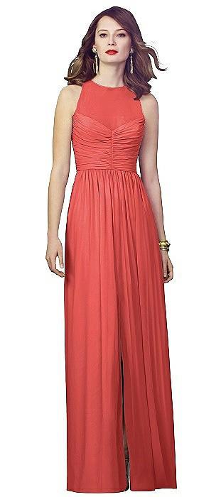 Illusion Bodice Chiffon Maxi Dress