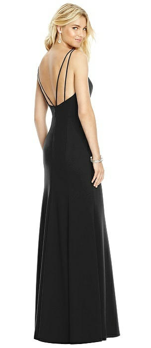 Bateau Neck Open-Back Trumpet Gown