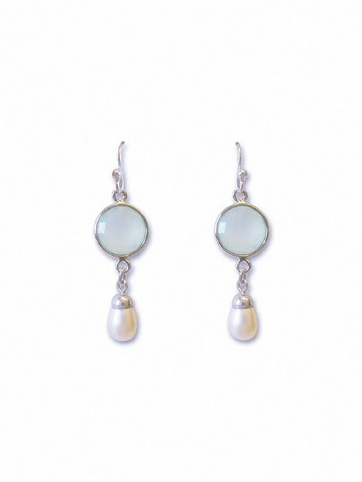 Pearly Aqua Chandelier Earrings