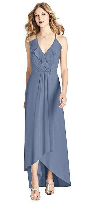 Ruffled Wrap High-Low Maxi Dress