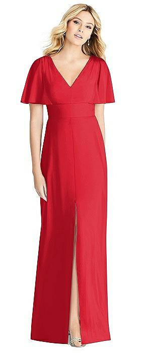 Split Ruffle Sleeve V-neck Dress with Front Slit