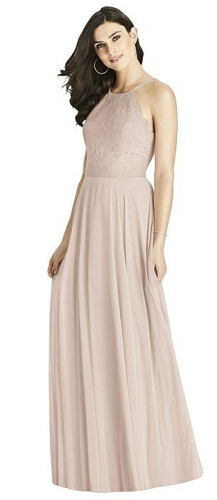 Lace Bodice Halter Maxi Dress