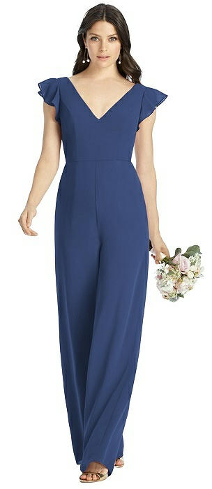 Ruffled Sleeve Low V-Back Jumpsuit - Adelaide