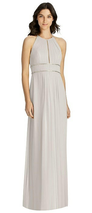Keyhole Jewel-Trimmed Waist Halter Dress
