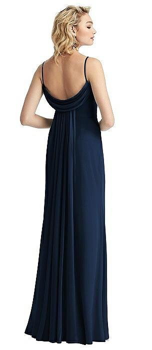 Shirred Sash Cowl-Back Chiffon Trumpet Gown