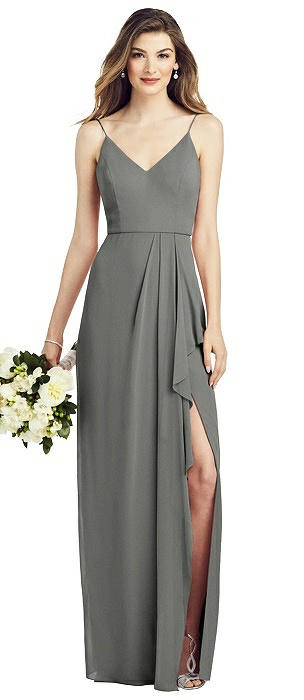 Spaghetti Strap Draped Skirt Gown with Front Slit