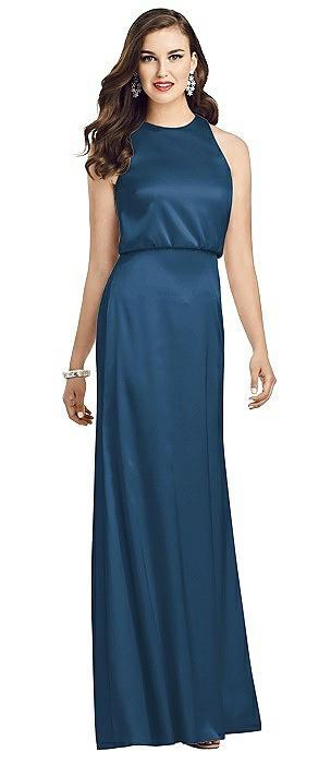 Sleeveless Blouson Bodice Trumpet Gown