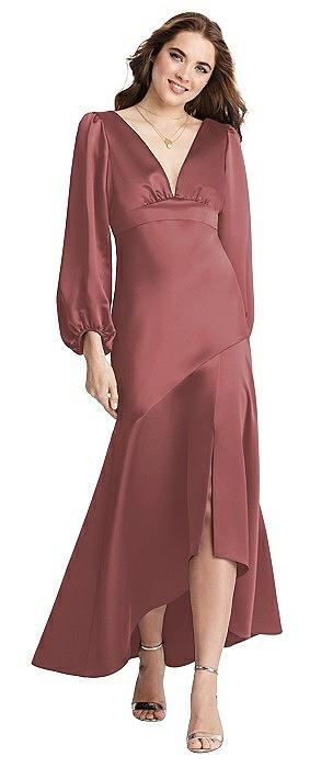 Puff Sleeve Asymmetrical Drop Waist High-Low Slip Dress - Teagan