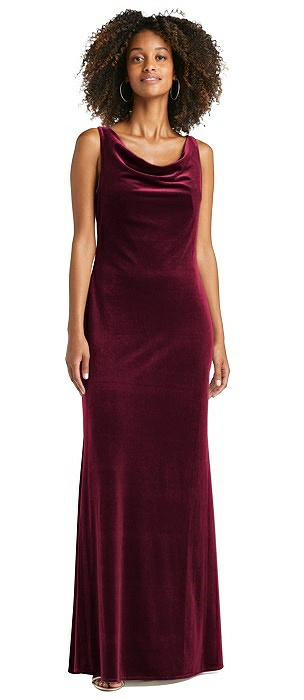 Cowl-Neck Velvet Maxi Tank Dress