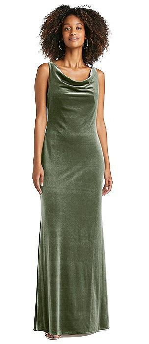 Cowl-Neck Velvet Maxi Tank Dress
