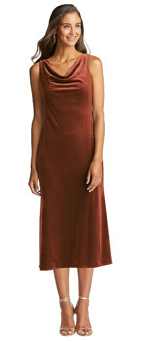 Cowl-Neck Velvet Midi Tank Dress