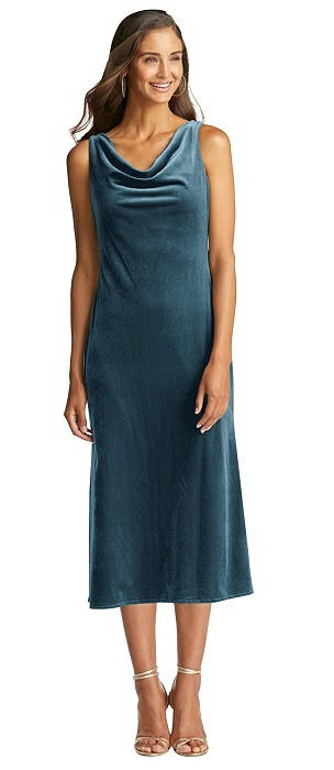 Cowl-Neck Velvet Midi Tank Dress