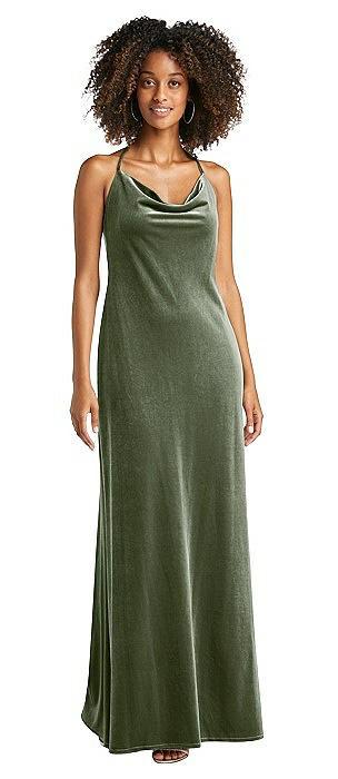 Cowl-Neck Convertible Velvet Maxi Slip Dress