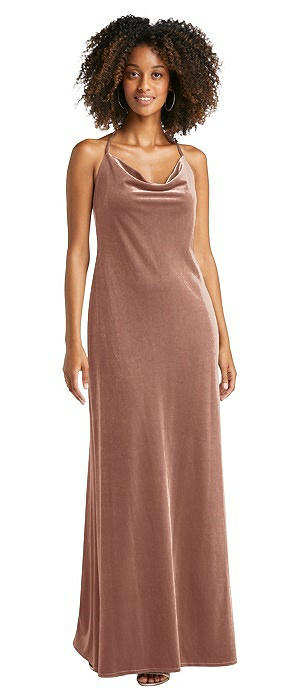 Cowl-Neck Convertible Velvet Maxi Slip Dress