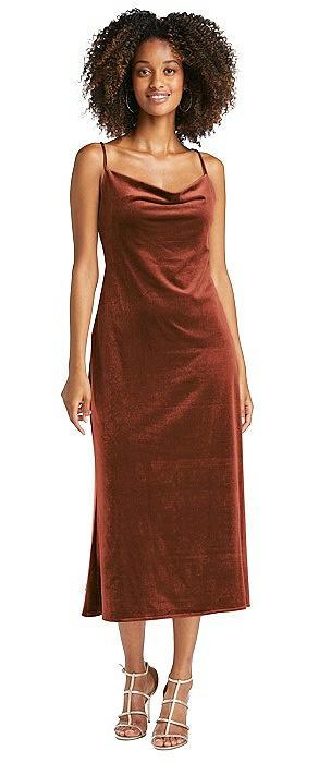 Cowl-Neck Convertible Velvet Midi Slip Dress