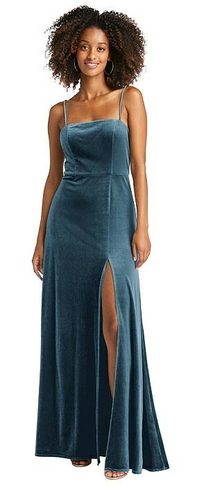 Square Neck Velvet Maxi Dress with Front Slit