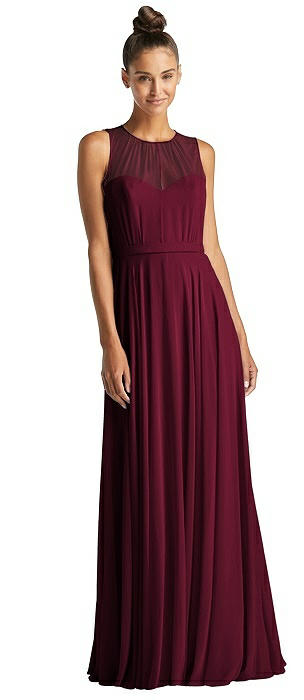 Illusion Neck Open-Back Chiffon Maxi Dress