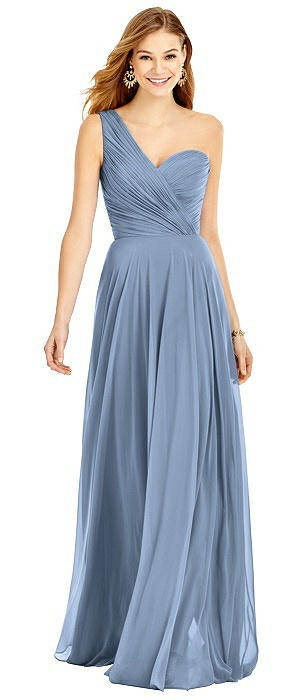 One-Shoulder Draped Chiffon Maxi Dress - Dani