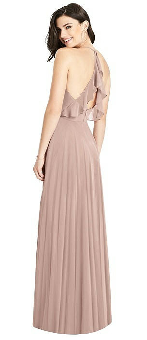 Ruffled Strap Cutout Wrap Maxi Dress