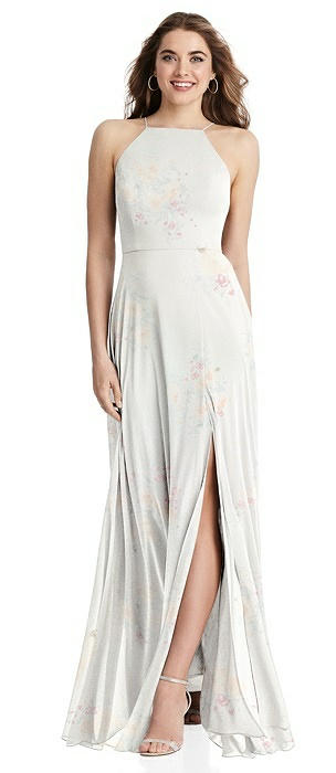 High Neck Chiffon Maxi Dress with Front Slit - Lela