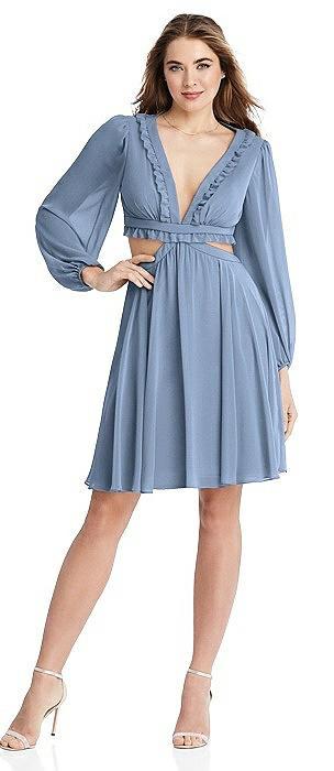 Bishop Sleeve Ruffled Chiffon Cutout Mini Dress - Hannah