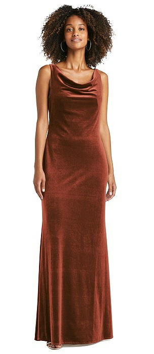 Cowl-Neck Velvet Maxi Tank Dress - Priya