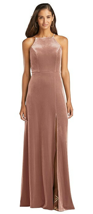Velvet Halter Maxi Dress with Front Slit - Harper
