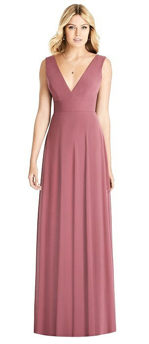 Sleeveless Deep V-Neck Open-Back Dress