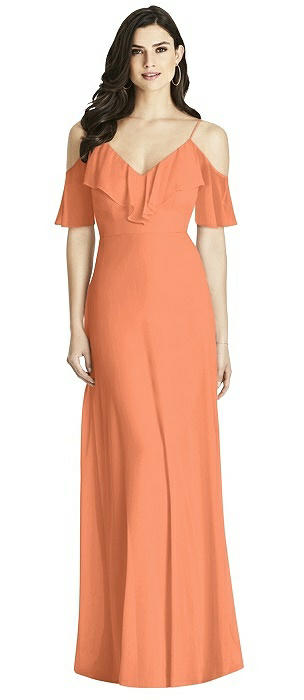 Ruffled Cold-Shoulder Chiffon Maxi Dress
