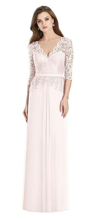 Long Sleeve Illusion-Back Lace Peplum Maxi Dress