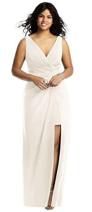 Sleeveless Faux Wrap Maxi Dress with Peekaboo Mini Skirt