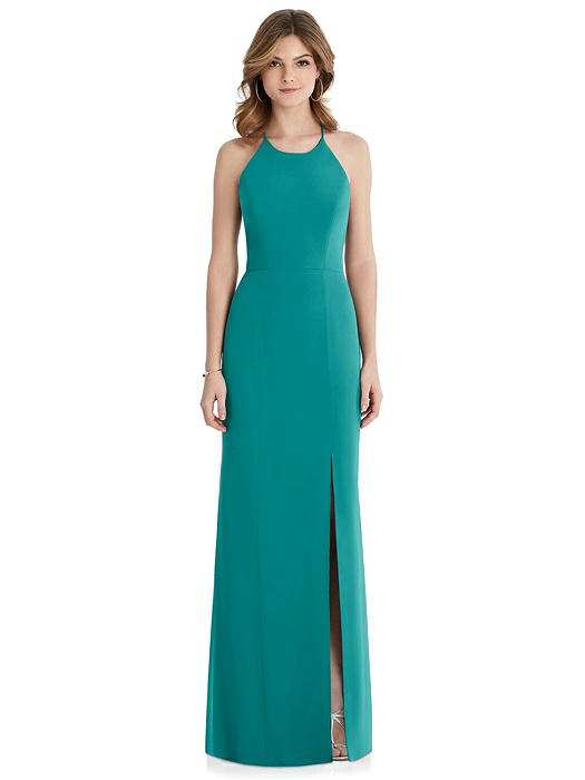 Criss Cross Open-Back Chiffon Trumpet Gown