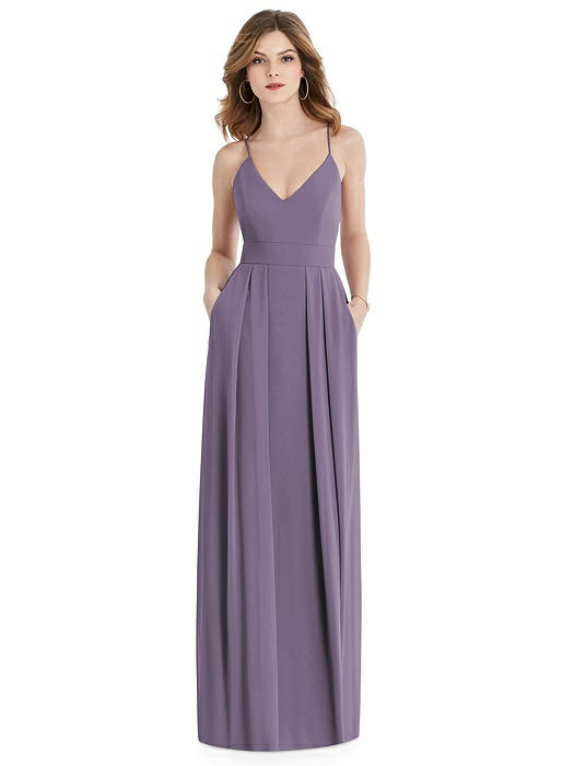 Pleated Skirt Crepe Maxi Dress with Pockets