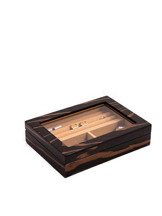 """Ebony"" Lacquered Burl Wood Valet Box with Glass Top"