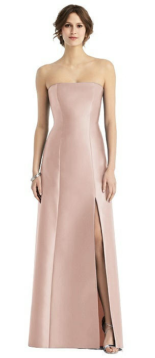 Strapless Satin Trumpet Gown with Front Slit