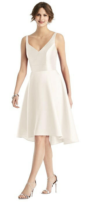 Sleeveless V-Neck Satin High Low Cocktail Dress