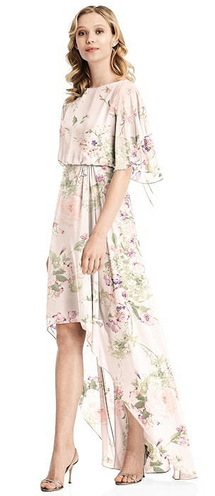 Flutter Sleeve High-Low Cocktail Dress