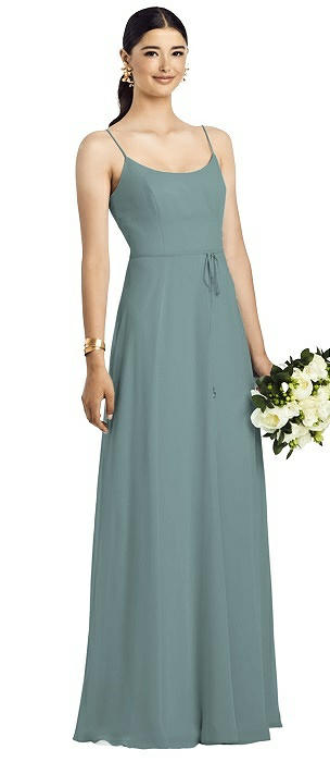 Spaghetti Strap Chiffon Maxi Dress with Jeweled Sash