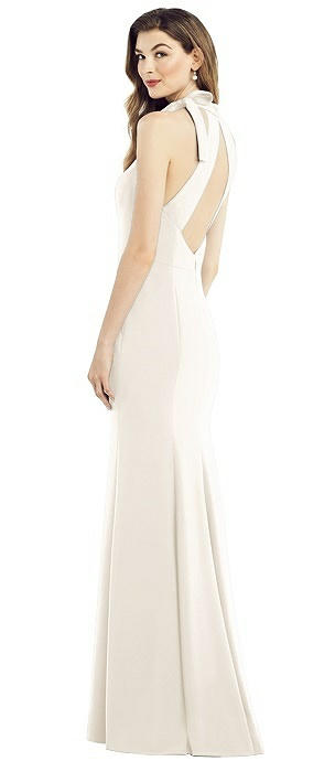 Bow-Neck Open-Back Trumpet Gown
