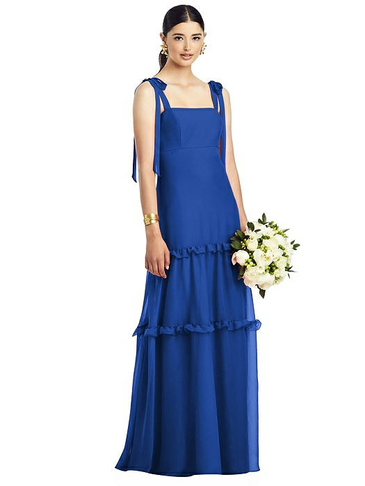Bowed Strap Chiffon Gown with Tiered Ruffle Skirt